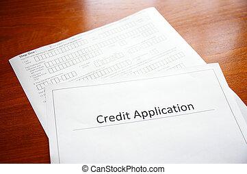 blanco, aplicación, credito, forma, escritorio