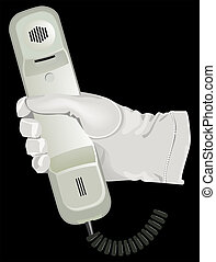 blanco, asimiento, teléfono, guante, mano