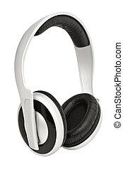 blanco, auriculares, aislado, plano de fondo