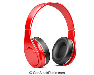 blanco, auriculares, moderno, aislado, rojo