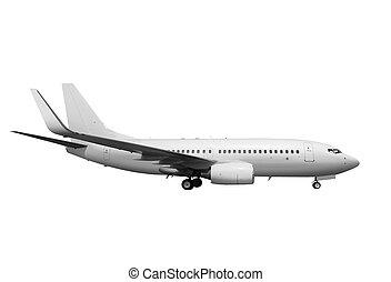 blanco, avión, con, trayectoria, l