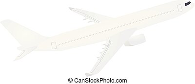 blanco, avión., vista lateral