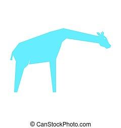 blanco, azul, jirafa, aislado