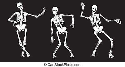 blanco, bailando, esqueletos, en, black.