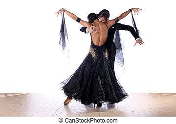 blanco, bailarines, aislado, salón de baile