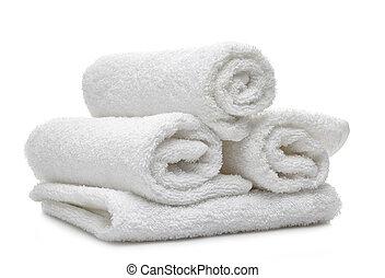 blanco, balneario, toallas