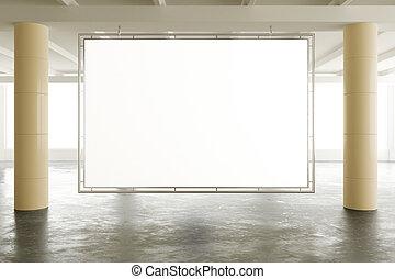 blanco, bandera, en, soleado, espacioso, hangar, área, con,...