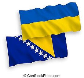 blanco, banderas, ucrania, bosnia, herzegovina, plano de ...