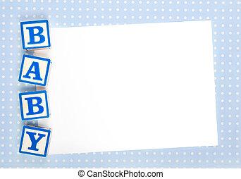 blanco, bebé, anuncio