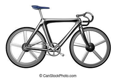 blanco, bicicleta, aislado, plano de fondo