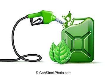 blanco, biofuel., jerrycan, bombade gasolina, verde, boquilla, plano de fondo, hojas, aislado