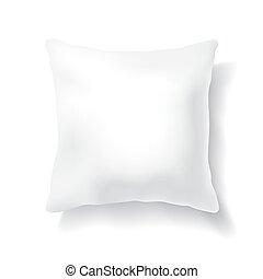 blanco, blanco, almohada, cuadrado