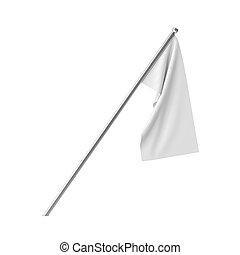 blanco, blanco, bandera, ahorcadura, en, un, calma, state., aislado, en, white.
