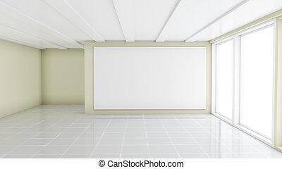 blanco, blanco, bandera, en, moderno, oficina vacía