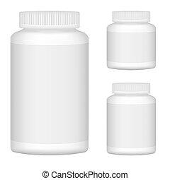 blanco, blanco, botella plástica, conjunto, para, empaquetado, design., conjunto, 1., vector, ilustración