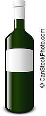 blanco, blanco, botella, vino
