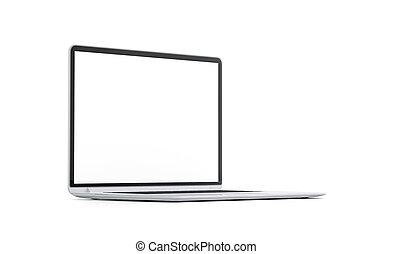blanco, blanco, computador portatil, pantalla, simulado, arriba, aislado, vista lateral