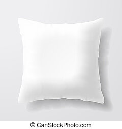 blanco, blanco, cuadrado, almohada