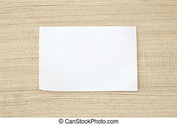 blanco, blanco, papel, en, madera