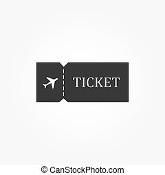 blanco, boleto, avión, icon., viaje, símbolo.