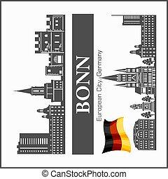 blanco, bonn, ciudad, illustration., vector, negro, contorno...