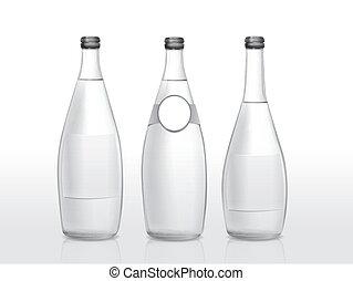 blanco, botella, vidrio, etiqueta