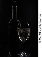 blanco, botella, vino