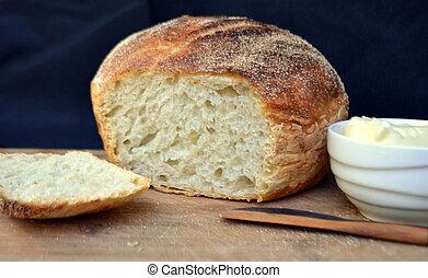 blanco, boule, crujiente, no-knead, bread