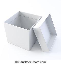blanco, box., abierto, vacío
