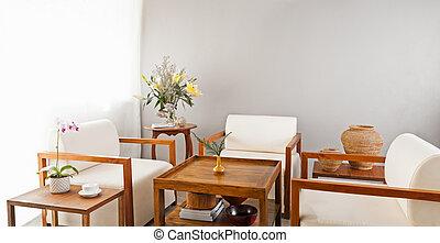 blanco brillante, seater, en, salón, área