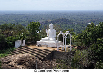 blanco, buddha, y, pasos