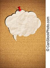 blanco, burbuja del discurso, note papel, con, crucillos,...