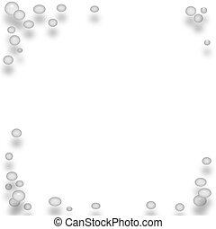 blanco, burbujas, marco