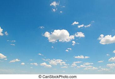 blanco, cúmulos, contra, el, cielo azul