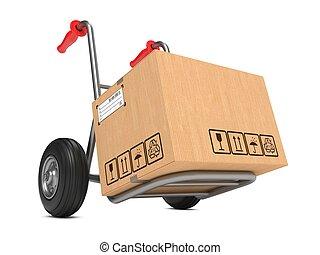 blanco, caja de cartón, en, mano, truck.