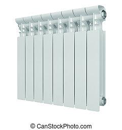 blanco, calefacción, aluminio, radiator.
