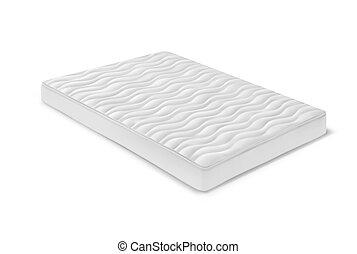 blanco, cama, colchón, dormitorio, isométrico, o