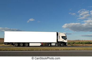 blanco, camión, largo, carretera