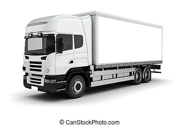 blanco, camión, plano de fondo, 3d