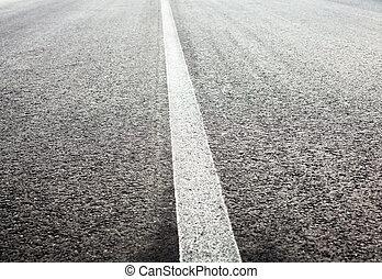 blanco, camino, intacto, línea, mancha