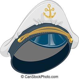 blanco, capitán, gorra, ancla