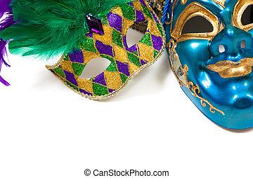 blanco, carnaval, máscaras
