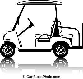 blanco, carro del golf