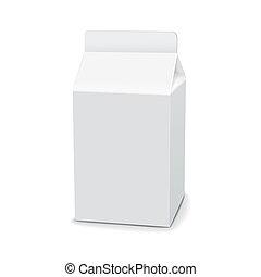 blanco, cartón, bebida, paquete
