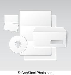 blanco, carta, sobre, tarjetas comerciales, y, cd