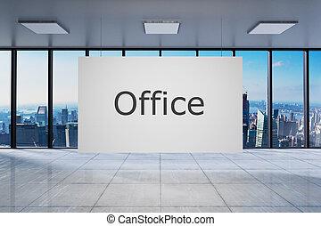 blanco, cartel, en, grande, moderno, oficina vacía, con, contorno, vista, 3d, ilustración