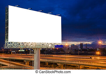 blanco, cartelera, en, crepúsculo, tiempo, para, anuncio