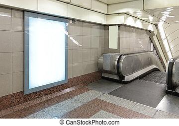blanco, cartelera, en, metro, metro