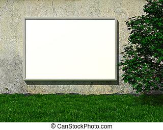 blanco, cartelera, en, pared concreta