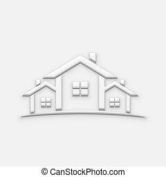 blanco, casas, bienes raíces, illustration., 3d, render